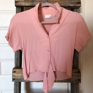 WILFRED FREE Salmon Front-Tie Blouse